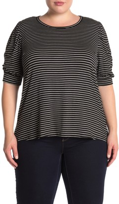 Vanity Room Puff Sleeve Striped Top (Plus Size)
