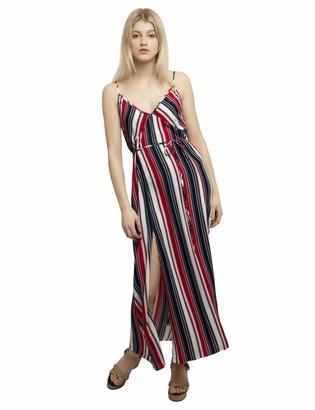 APART Fashion Women's Apart sommerliches Damen Kleid Sommerkleid Lang Bindegurtel Spaghetti-Trager weiter Schnitt Casual Dress