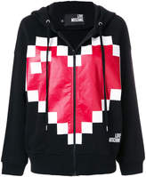 Love Moschino pixilated heart logo hoodie