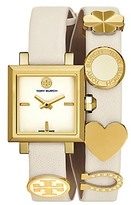 Tory Burch Saucy Double-Wrap Watch, Ivory Leather/Gold-Tone, 25mm