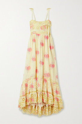 LoveShackFancy Vivi Satin And Broderie Anglaise-trimmed Floral-print Cotton Midi Dress - Pastel yellow
