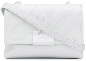 Off-White Embossed Diagonal-Stripes Clip Crossbody Bag