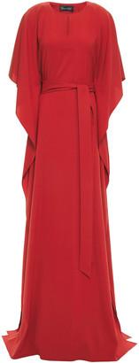 Oscar de la Renta Belted Draped Silk-blend Cady Maxi Dress