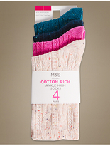 M&S Collection 4 Pair Pack Cotton Rich Ankle High Socks