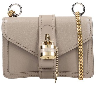 Chloé Aby Small Shoulder Bag In Grey Leather