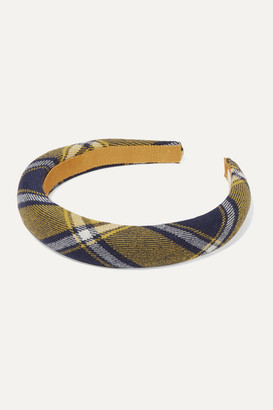 Jennifer Behr Kamden Checked Wool Headband - Navy