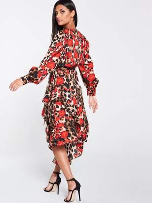 Forever Unique U Collection U Collection Frill Hem Long Sleeve Midi Dress - Leopard
