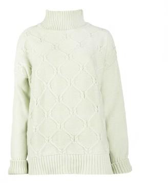 Woolish Kai Boxy High Neck Merino Sweater Green