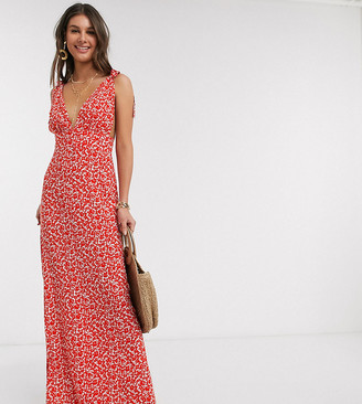 Asos DESIGN Tall plunge tie shoulder maxi dress in ditsy floral print