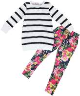 Jastore Kids Girls Clothing Sets Long Sleeve Stripe Shirt+Floral Pants Outfits