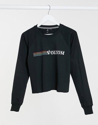 Volcom truly stoked crew logo jumper in black