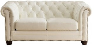 Crissyfield Leather Chesterfield Loveseat Rosdorf Park