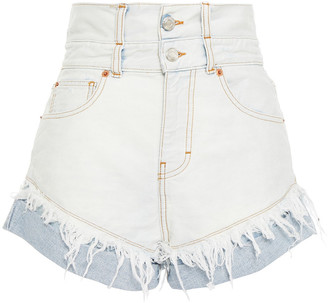 IRO Distressed Two-tone Denim Shorts