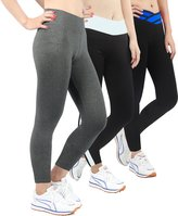 iLoveSIA Women's Tights Yoga Running Workout Leggings Pants Size S Black+Blue+Grey