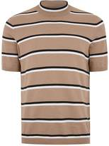 Topman Beige Stripe Turtle Neck Jumper