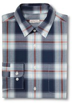 Merona Men's Plaid Long Sleeve Button Down Shirt Navy