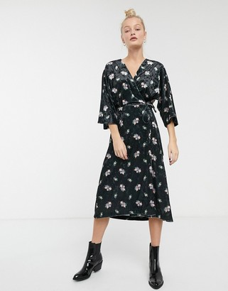 Monki velvet midi floral print wrap dress in black