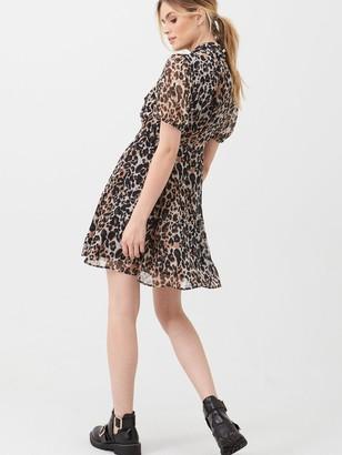 Very Georgette Twist Neck Mini Dress - Leopard