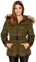 Quiz Khaki Padded Faux Fur Hood Jacket