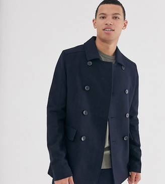 French Connection Tall wool blend pea coat-Navy