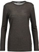 Brunello Cucinelli Glittered Striped Wool-Blend Jersey Top