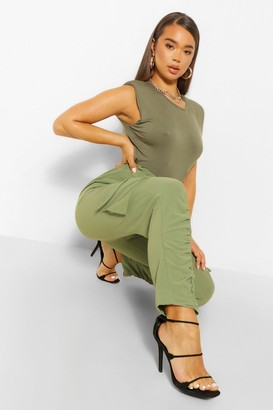 boohoo Ruched Leg Cargo Pocket Slim Leg Trousers