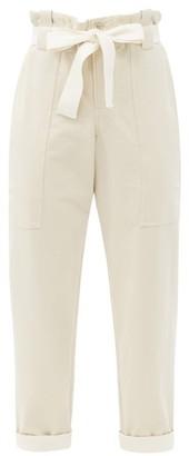 Brunello Cucinelli Paperbag-waist Cotton-blend Trousers - Cream