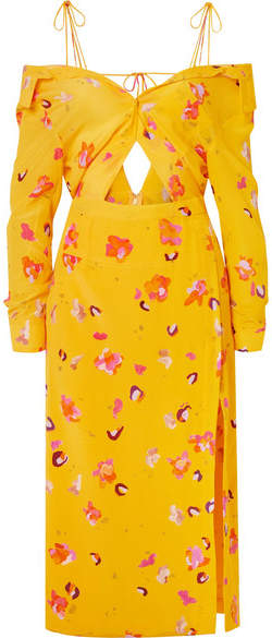Altuzarra Adele Cold-shoulder Cutout Floral-print Silk Crepe De Chine Midi Dress - Yellow