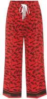 Miu Miu Printed silk wide-leg trousers