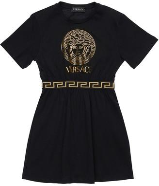 Versace Medusa Print Cotton Jersey Dress