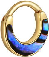 Pamela Love Abalone Inlay Clicker Single Hoop Earring - Yellow Gold