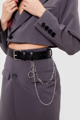 Nasty Gal Womens Chain Faux Leather Drop Belt - Black - One Size