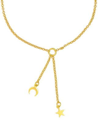 Ottoman Hands Gold Moon & Star Lariat Necklace