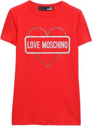 Love Moschino Glitter-embellished Stretch-cotton Jersey T-shirt