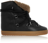 Nowles Shearling-Lined Leather Concealed Wedge Boots