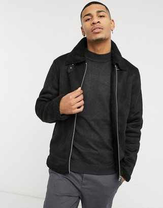 Barneys New York faux suede jacket with zip front in black