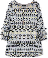 BCX Ruffle-Sleeve A-Line Dress With Coordinating Necklace, Big Girls (7-16)