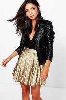 Boohoo Honor Metallic Polka Dot Skater Skirt