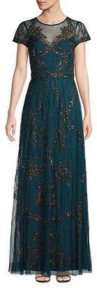 Adrianna Papell Beaded Sheer Gown