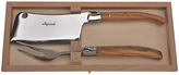 Jean Dubost Le Thiers Laguiole 2-Piece Olive Wood Cheese Cleaver & Fork Set
