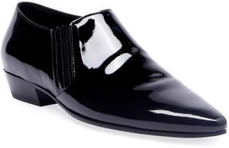 Saint Laurent Men's Patent Leather Cropped Booties