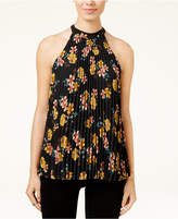 Lily Black Juniors' Printed Pleated Mock-Neck Top, Created for Macy's