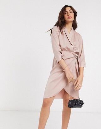 Y.A.S satin wrap mini dress in pink