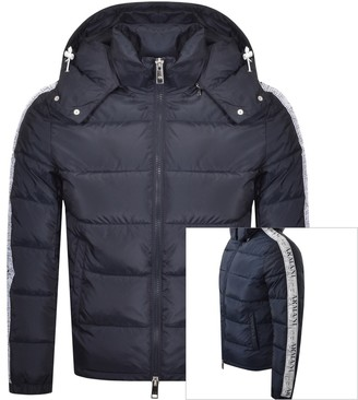Armani Exchange Hooded Quilted Jacket Navy