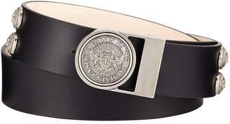 Balmain Valley Medallion-Detail Leather Belt