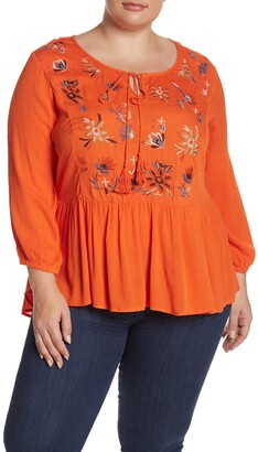 Forgotten Grace Floral Embroidered 3/4 Sleeve Tunic