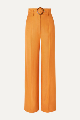 De La Vali Lily Belted Woven Wide-leg Pants - Orange