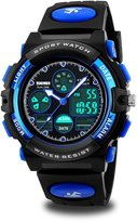 Cofuo Kids Sport Outdoor Digital Unusual Analog Quartz Dual Time Zone Waterproof PU Resin Band Watch with Chronograph, Alarm, Classic Design Calendar Date Window for Boys Girls Children - Blue