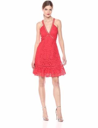ASTR the Label Women's Lattice Inset Sleeveless LACE FIT & Flare Short Dress