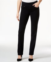 Jag Petite Peri Black Void Wash Straight-Leg Pull-On Jeans